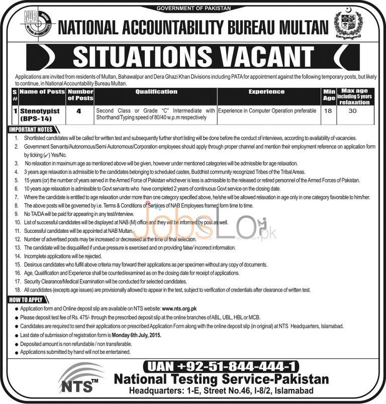 NAB Multan NTS Jobs 2015 for Stenotypist Download Application Form