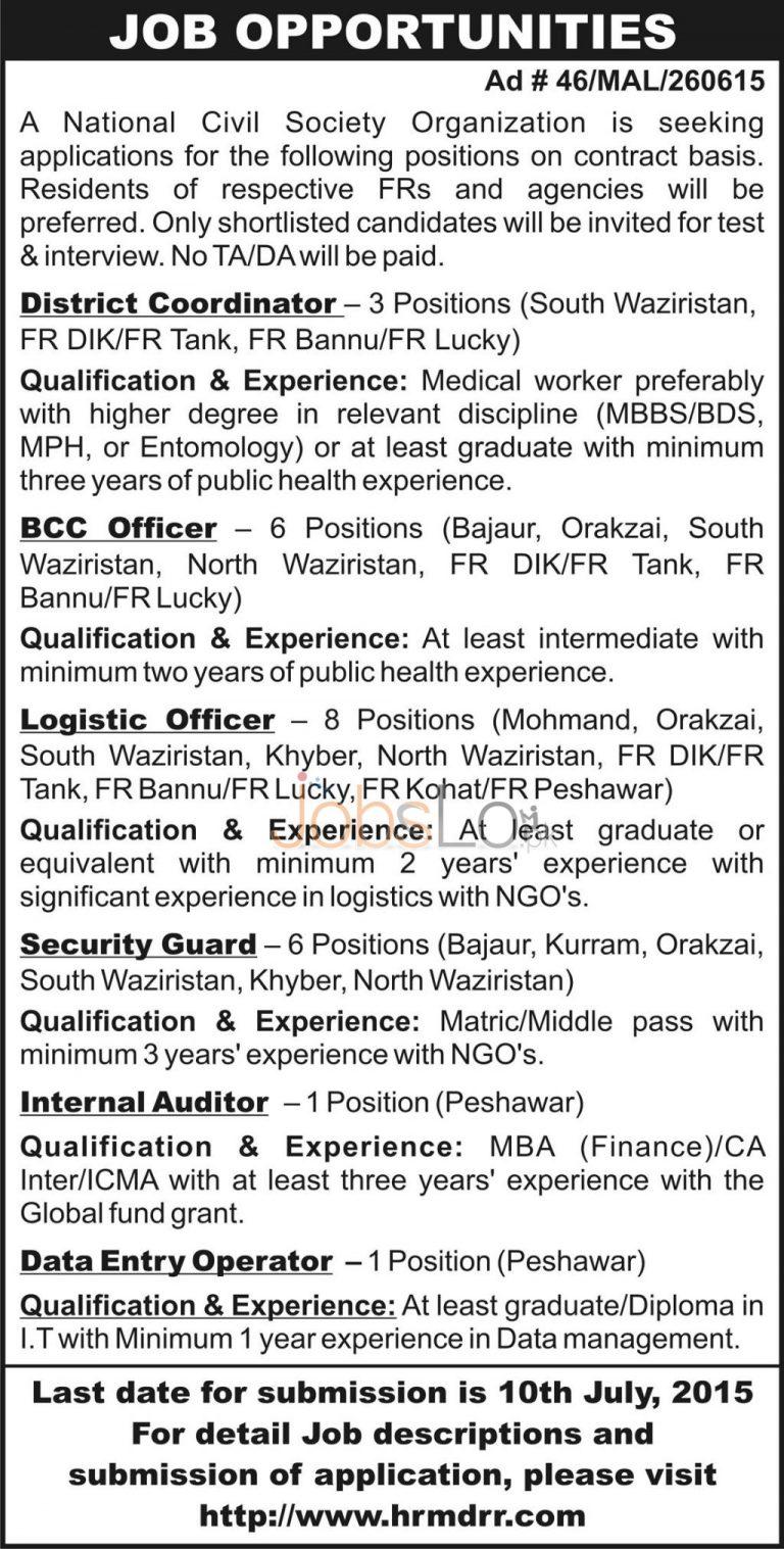 National Civil Society Organization NGO Jobs 2015 Peshawar KPK