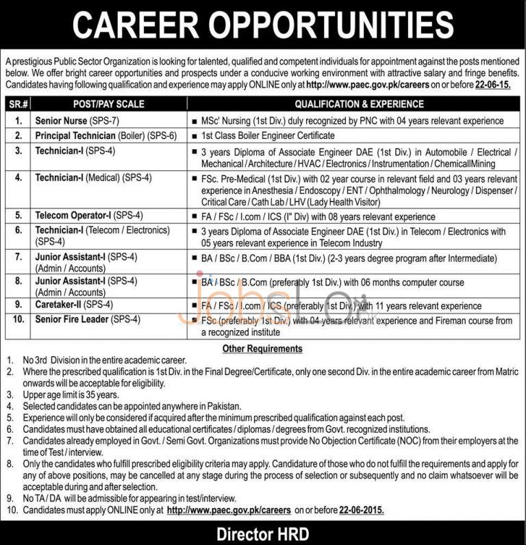 Pakistan Atomic Energy Commission PAEC Jobs 2015 Apply Online