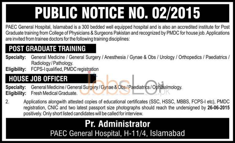PAEC Hospital Islamabad Jobs 2015 June 11 Latest Advertisement