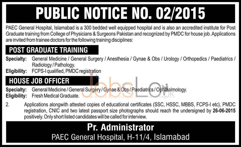 PAEC Hospital Islamabad Jobs