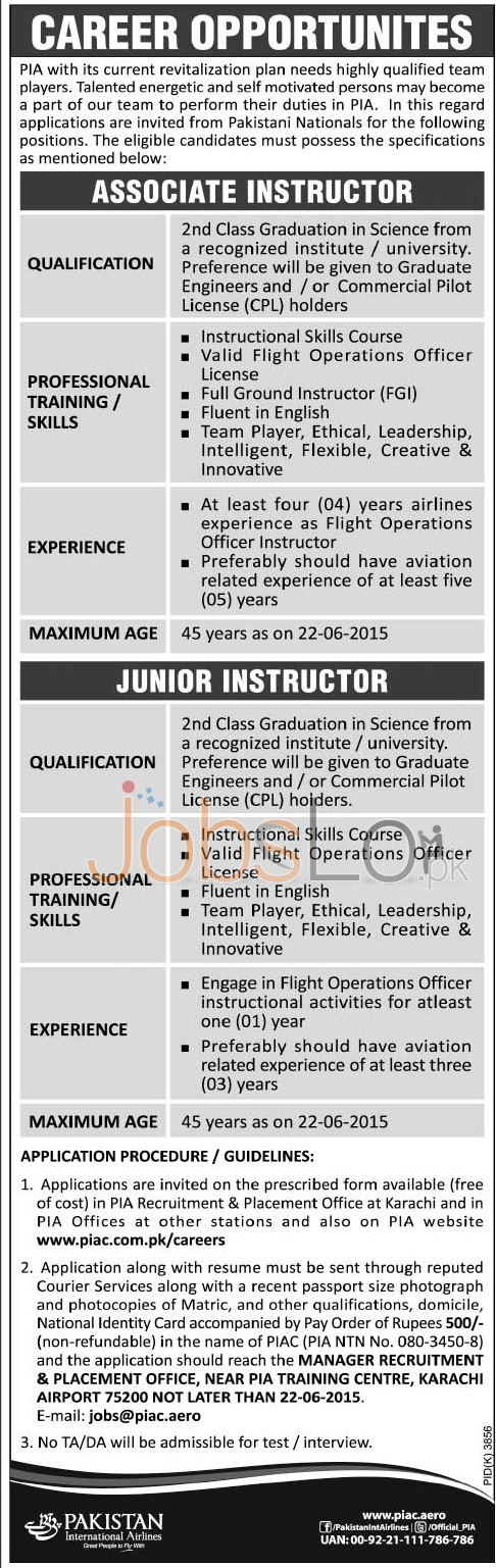 PIA Airline Jobs