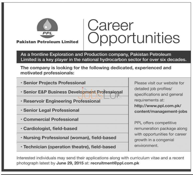 Pakistan Petroleum Limited PPL Jobs 2015 Apply Online