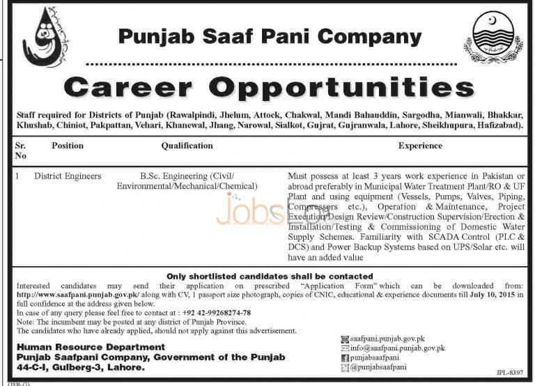 21 District Engineers Jobs in Punjab Saaf Pani Company 2015