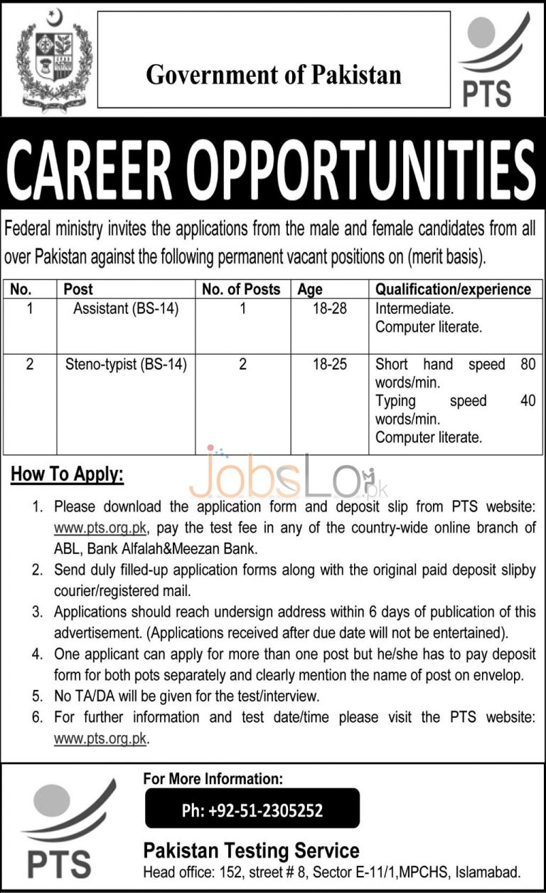 Govt of Pakistan Federal Ministry Jobs 2015 Application Form