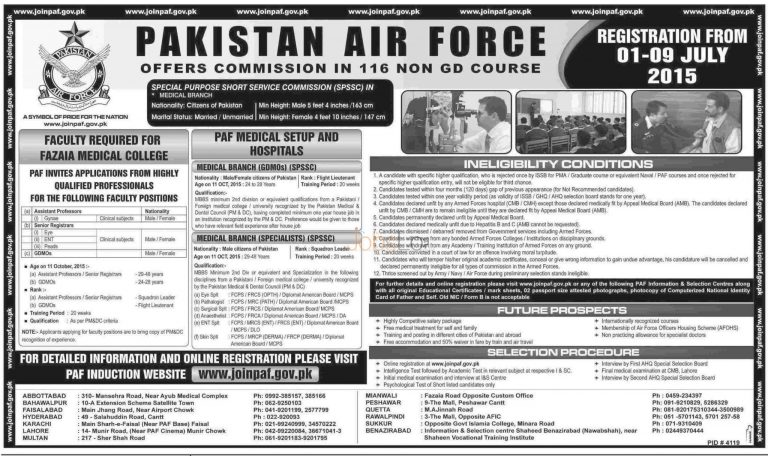 Join PAF June / July 2015 Through Commission in 116 Non GD Course Apply Online