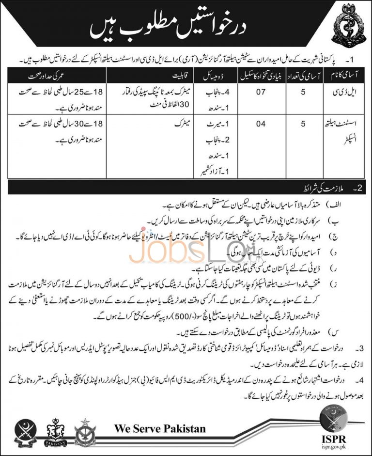 Civilian Jobs in Pakistan Army 2015 for LDC & Assistant Health Inspector