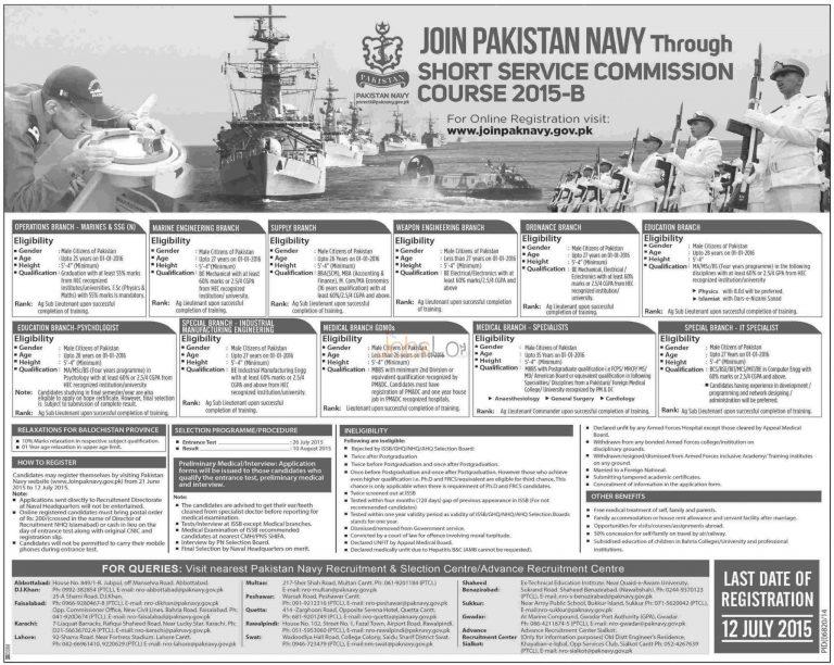 Join Pak Navy Through SSC 2015 B Eligibility Criteria & Online Registration