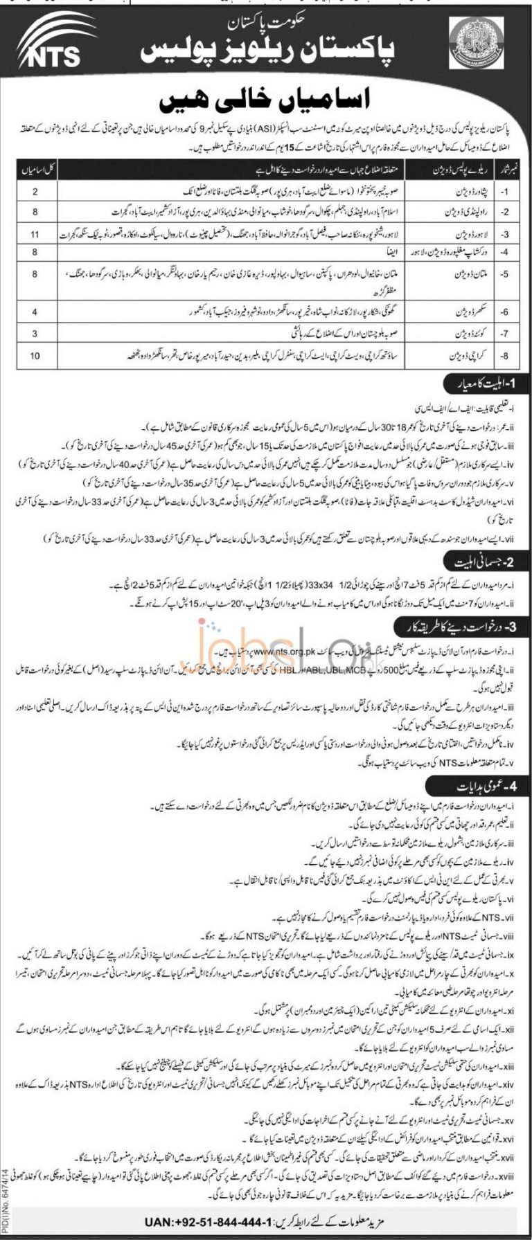 NTS Pakistan Railways ASI Jobs 2015 Lahore, Peshawar, Karachi, Multan, Rawalpindi