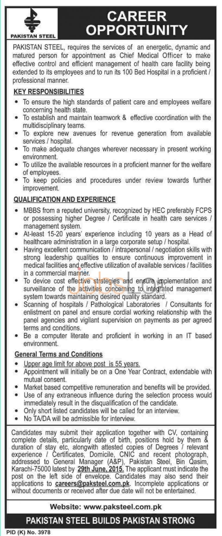 Pakistan Steel Mill Jobs 2015 for Chief Medical Officer