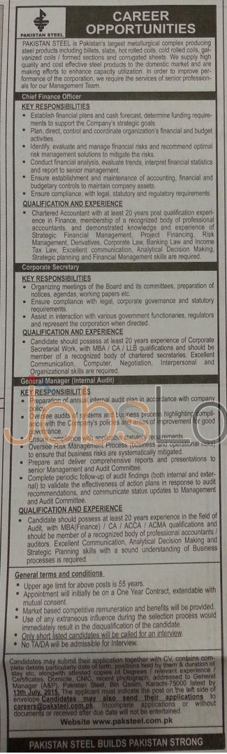 Pakistan Steel Mill Jobs June / July 2015 Latest Advertisement
