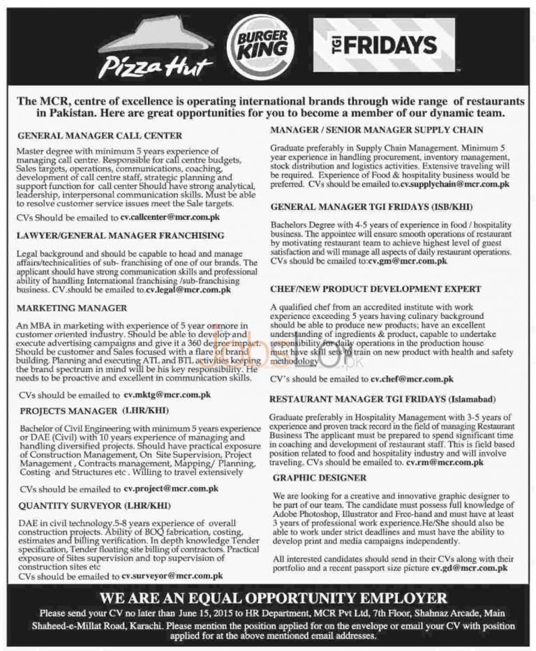 Jobs in Pizza Hut, Burger King & TGI Fridays 2015 Employment Opportunities