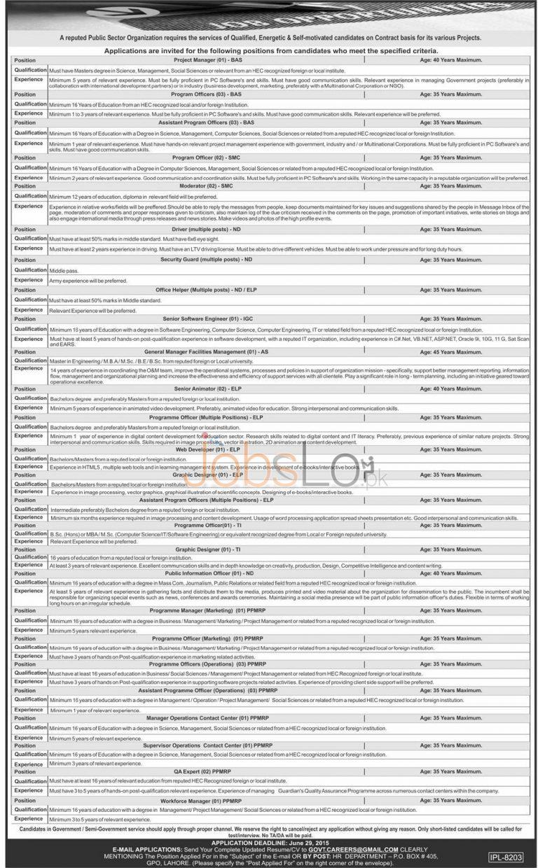 Public Sector Organization Jobs 2015 Lahore June 18 Advertisement
