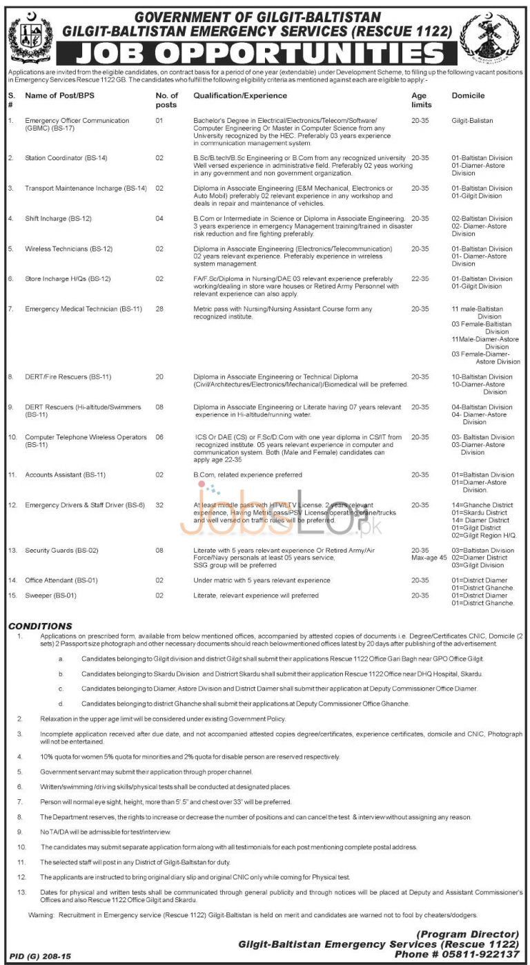 Rescue 1122 Jobs in Gilgit Baltistan 2015 Application Form & Selection Procedure
