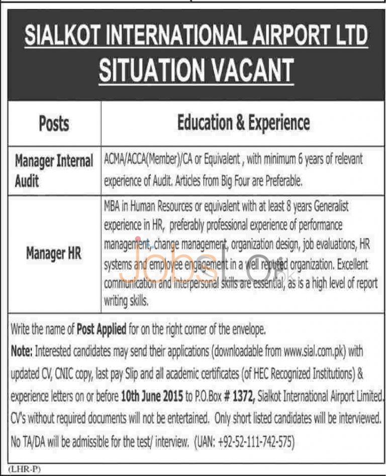 SIAL Sialkot International Airport Jobs 2015 June 03 Advertisement
