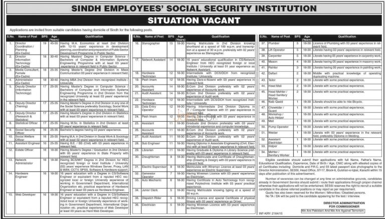 Sindh Employees Social Security Jobs 2015 Karachi Pakistan