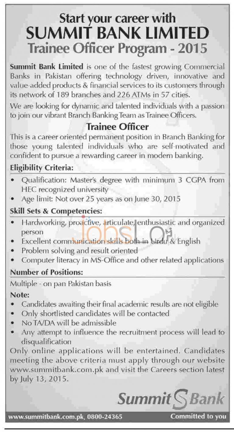 Summit Bank Jobs June / July 2015 Trainee Officer Apply Online