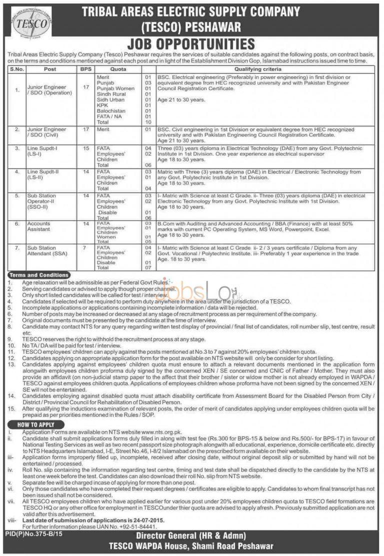 NTS TESCO WAPDA Jobs 2015 Application Form & Recruitment Test