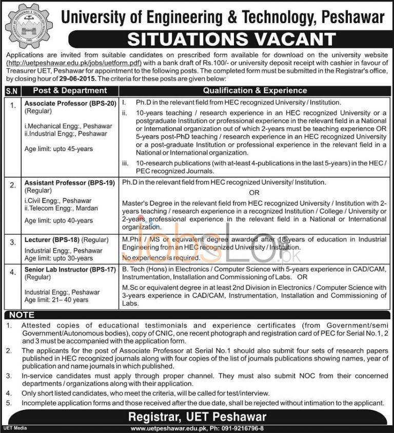 University of Engineer & Technology UET Peshawar Jobs June 13 Advertisement