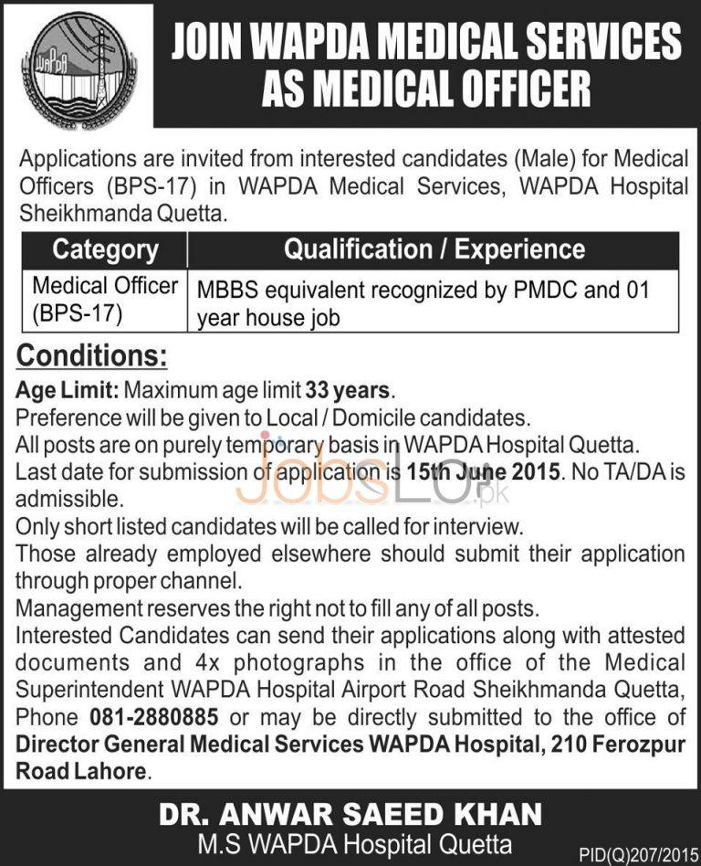 WAPDA Jobs in Quetta 2015 for Medical Officer (BS-17)