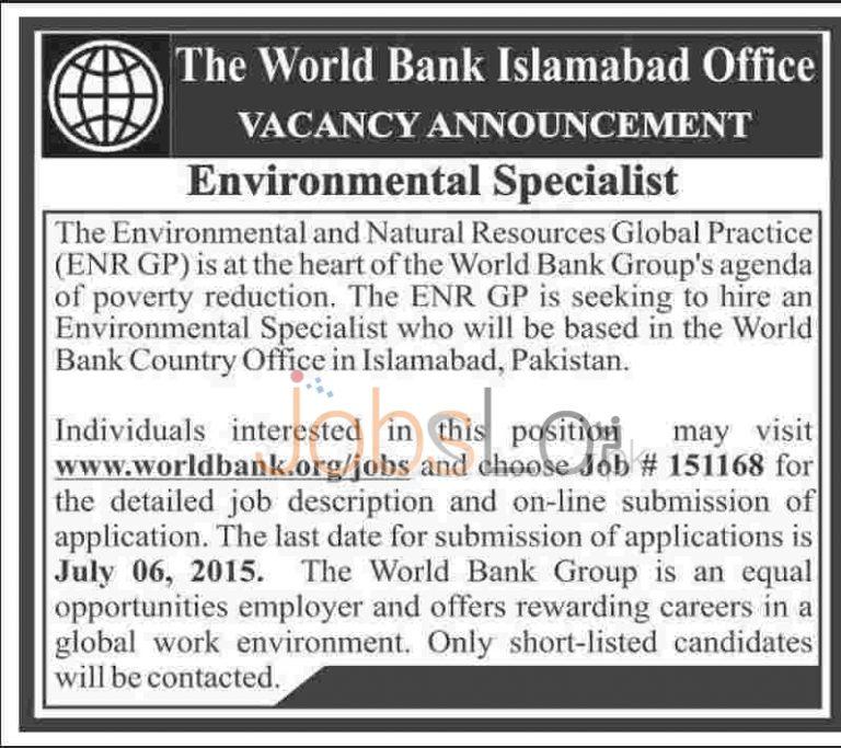 World Bank Jobs in Pakistan 2015 June 27 Advertisement
