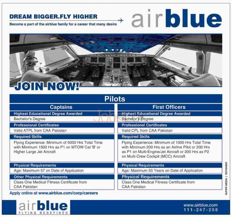 Air Blue Jobs July 2015 Pilots (Captains & First Officers) Apply Online