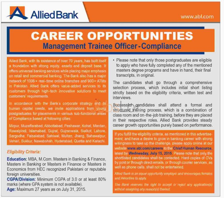 Allied Bank Jobs 2015 for Management Trainee Officer Apply Online