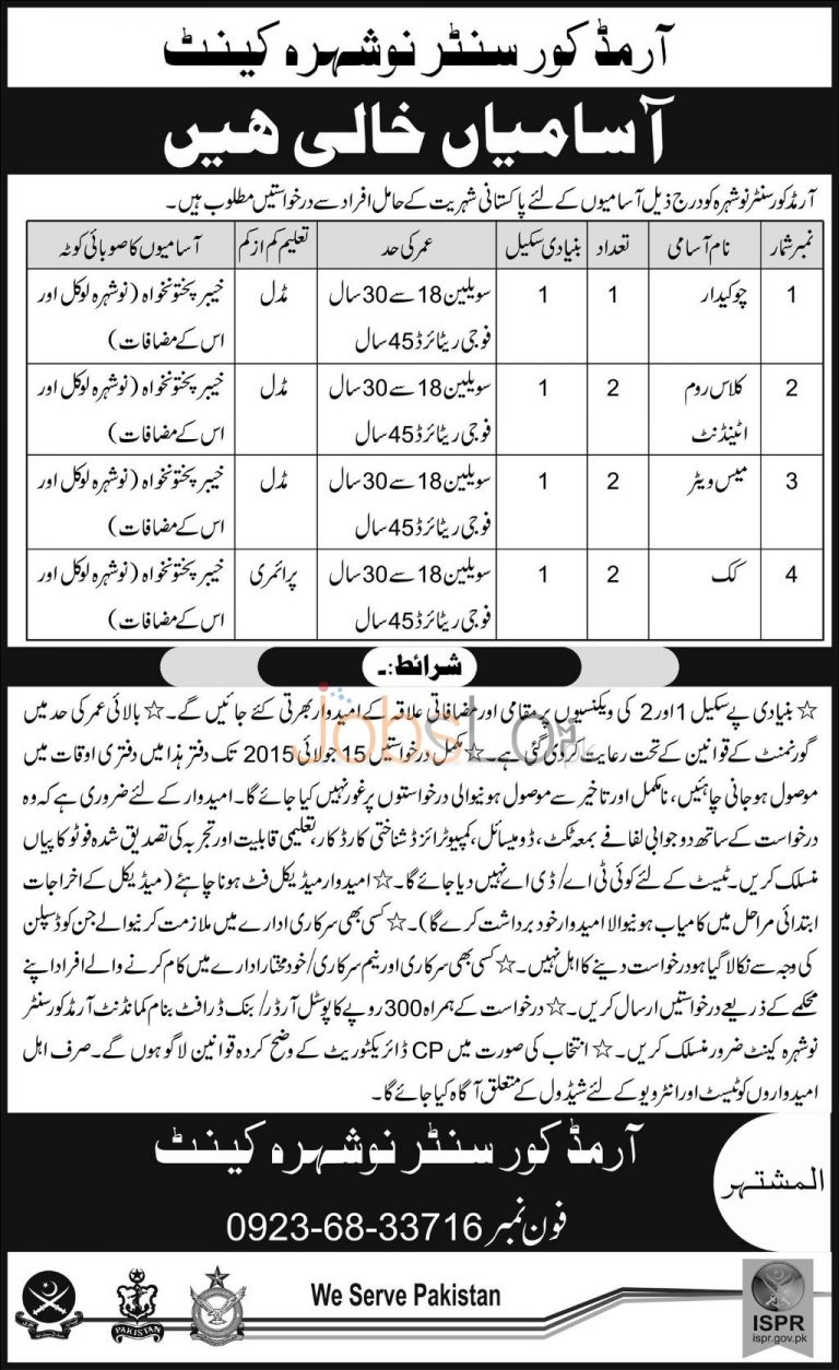 Army Corps Centre Nowshera Jobs 2015 for Under Matric
