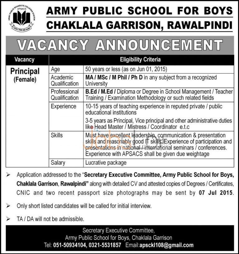 Army Public School Rawalpindi Jobs July 2015 Latest Advertisement