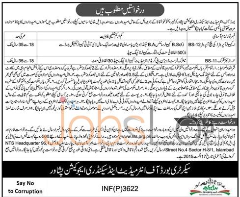 Board of Intermediate & Secondary Education BISE Peshawar NTS Jobs 2015 Application Form