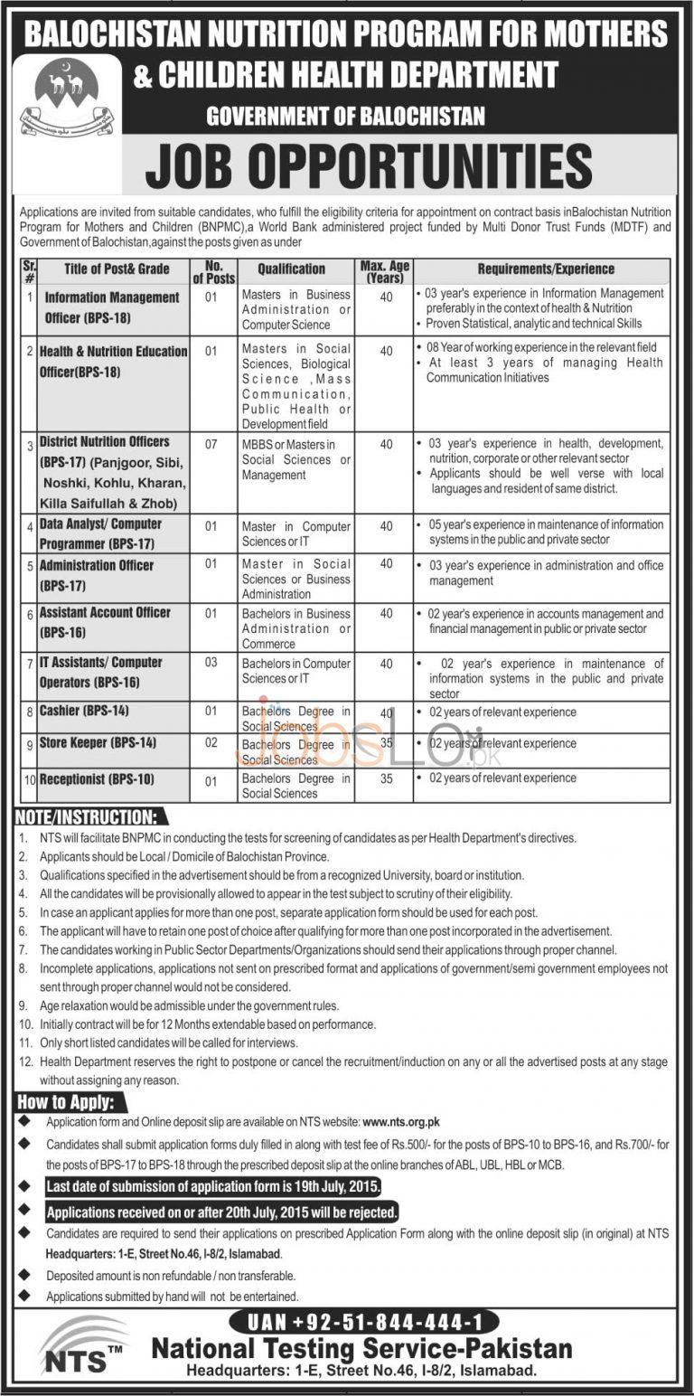 BNPMC Balochistan Health Department NTS Jobs 2015 July 03 Advertisement