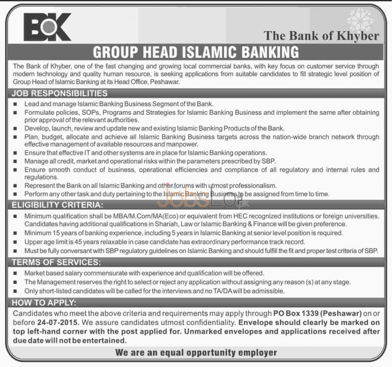 Bank of Khyber Jobs in Peshawar 2015 for Group Head Islamic Banking