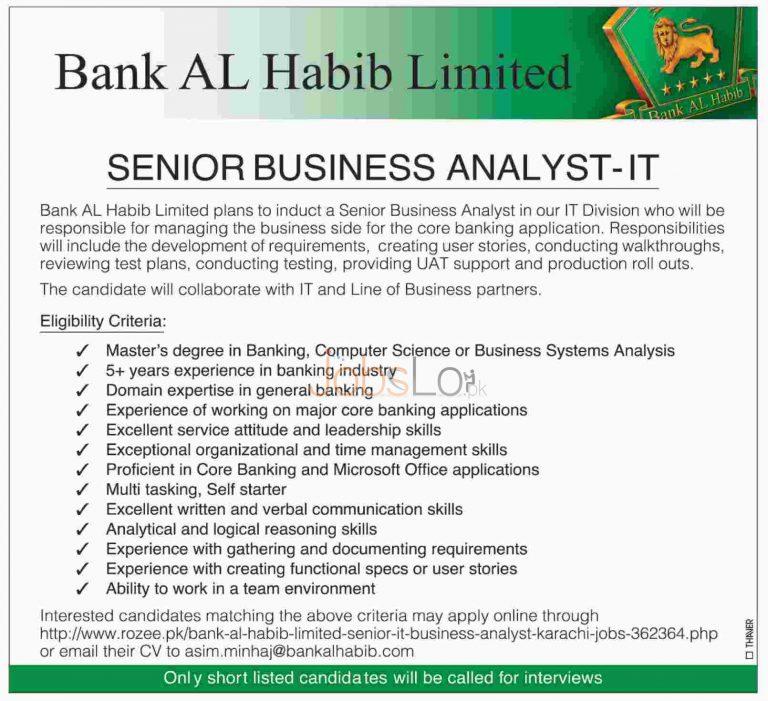 Bank Al Habib Jobs 2015 in Karachi for Senior Business Analyst IT