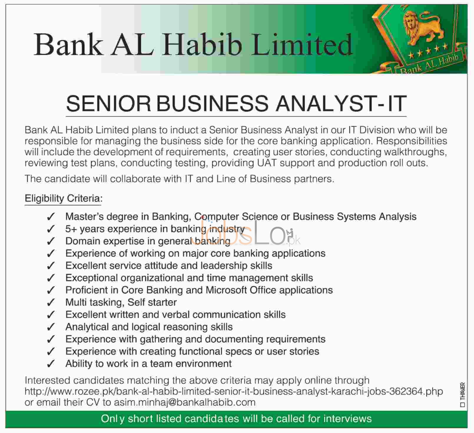 Bank Al Habib Jobs