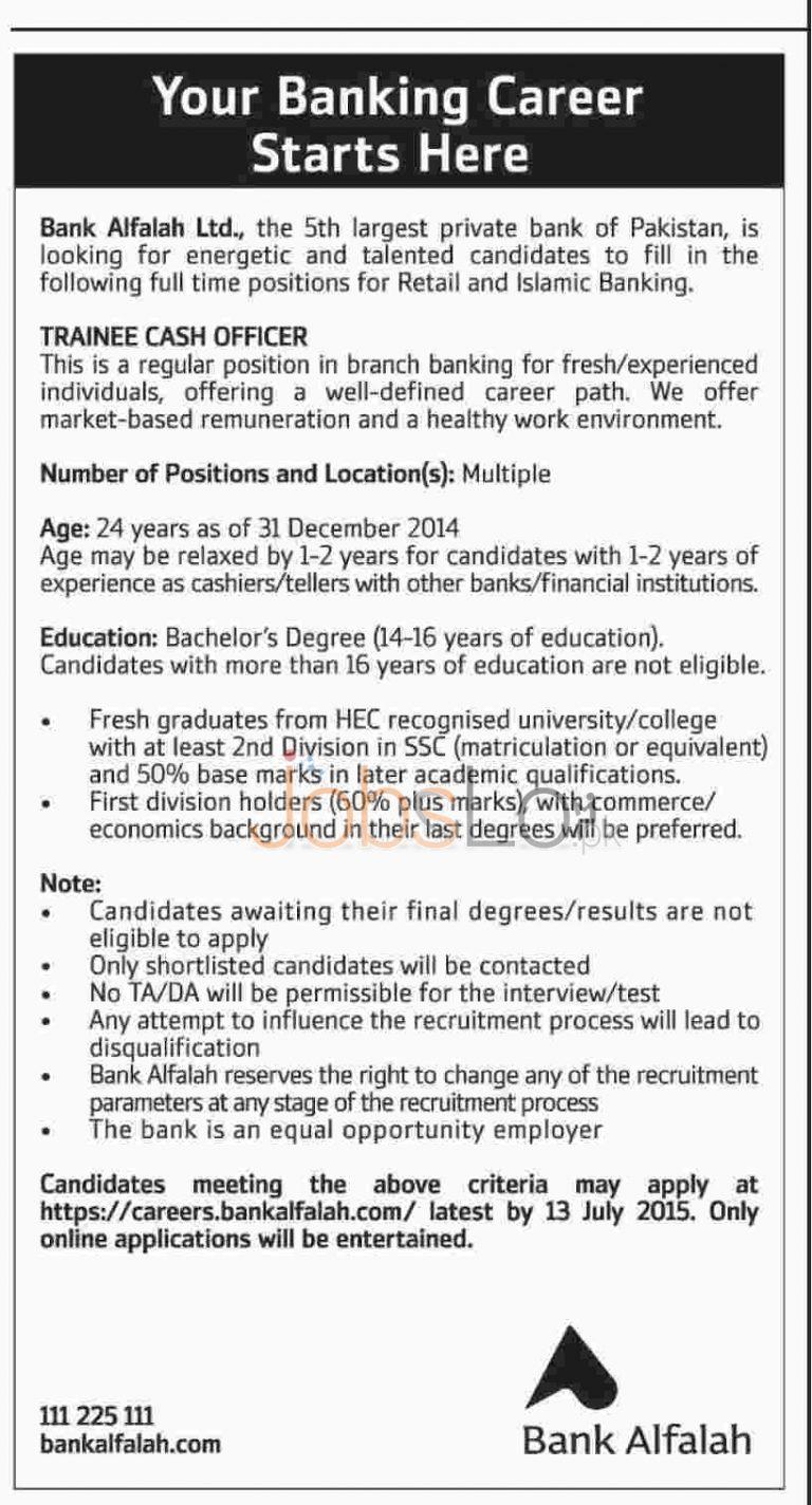 Bank Alfalah Jobs in Pakistan 2015 for Trainee Cash Officer