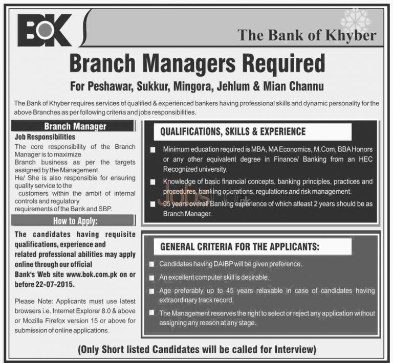 BOK Branch Manager Jobs in Bank of Khyber 2015 Apply Online