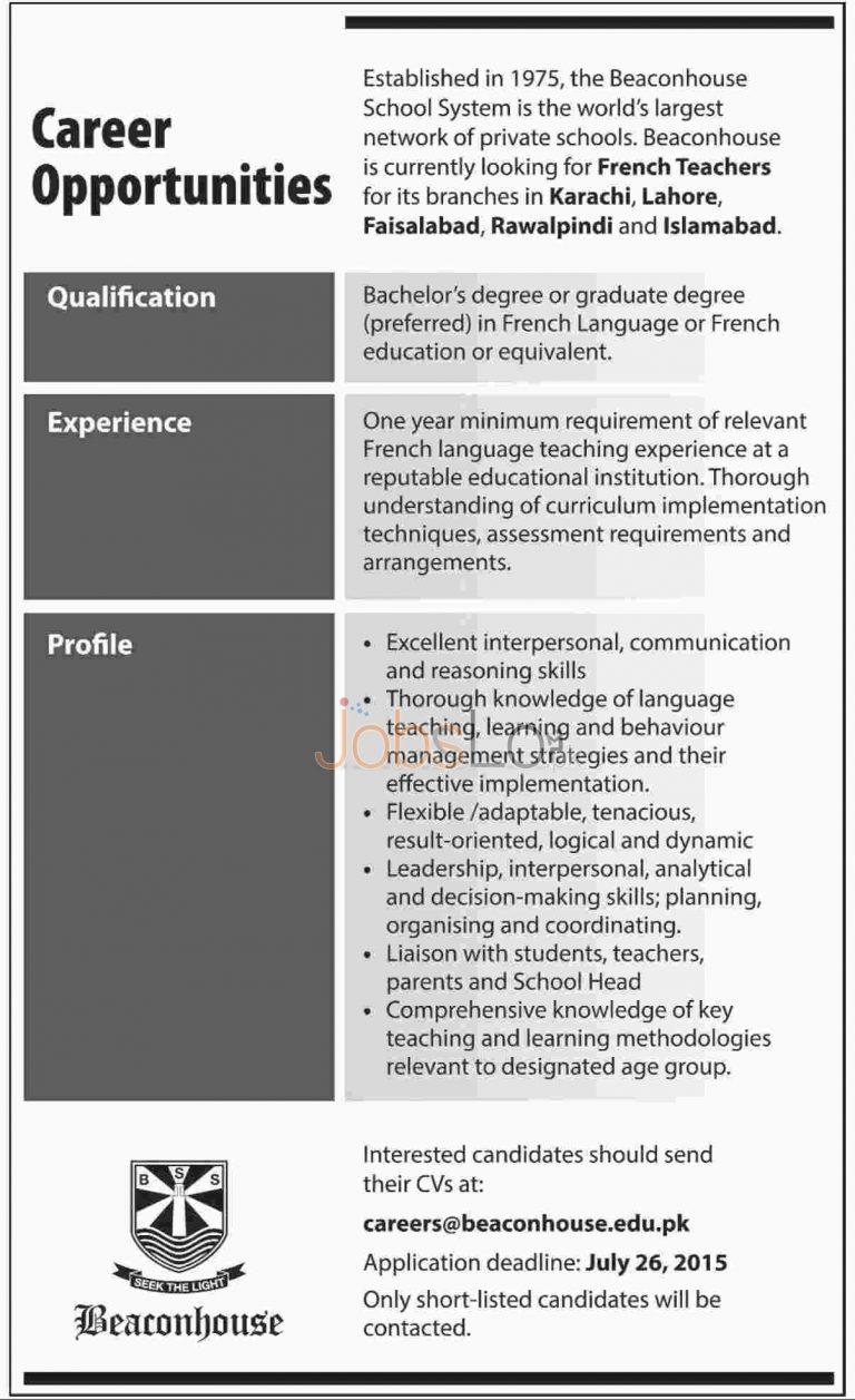 Beaconhouse School Jobs July 2015 for French Teachers