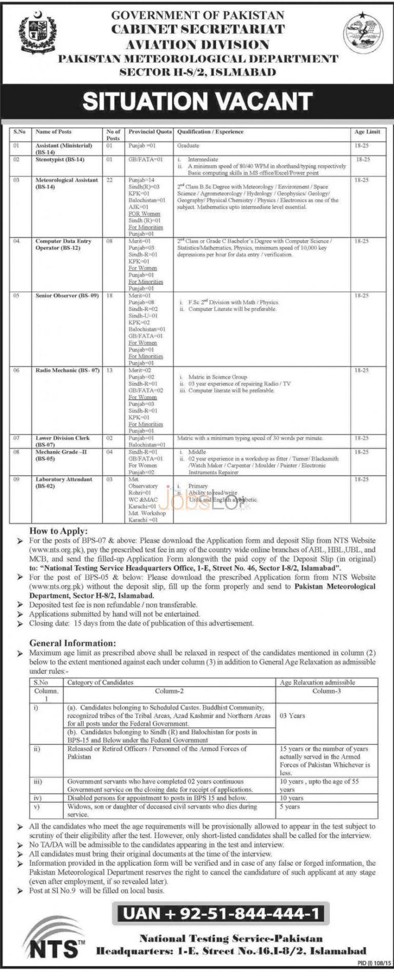 Cabinet Secretariat Aviation Division Islamabad NTS Jobs July 2015 Pakistan