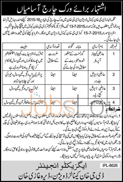 Canal Department Punjab Jobs 2015 DG Khan for Computer Operator
