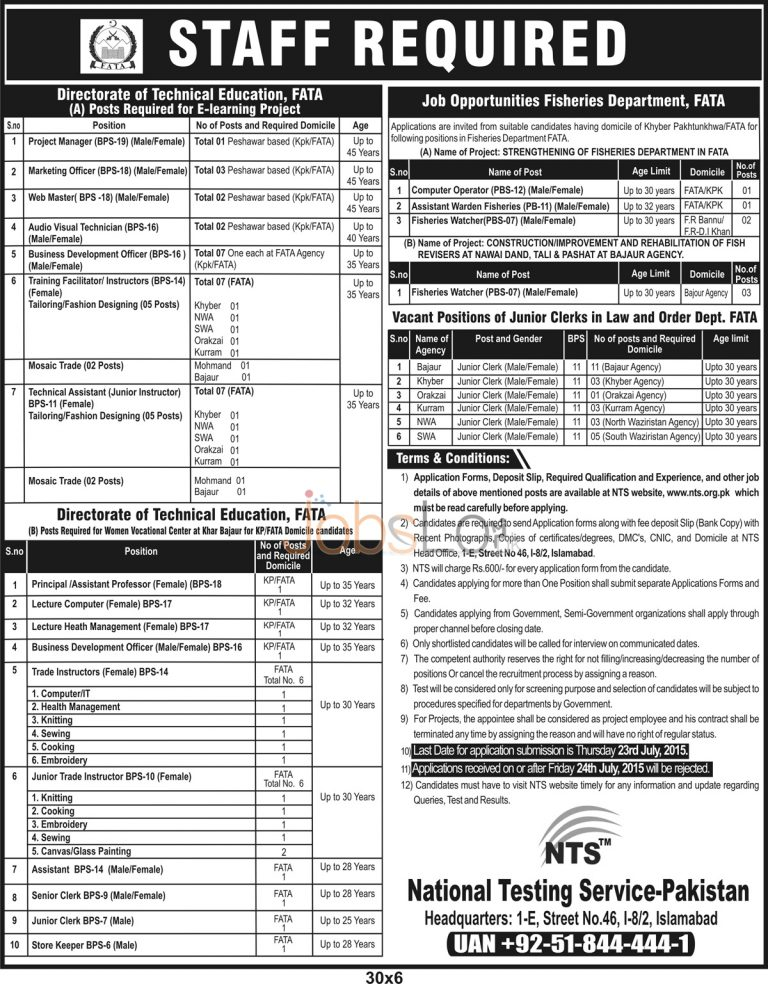 FATA Secretariat Phase III Jobs NTS 2015 Application Form