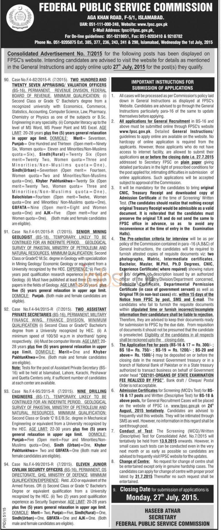 FPSC Jobs FBR Appraising / Valuation Officer 227 Jobs 2015 Apply Online
