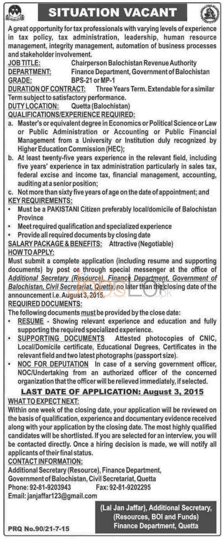 Finance Department Quetta Jobs 2015 Chairperson Balochistan Revenue Authority
