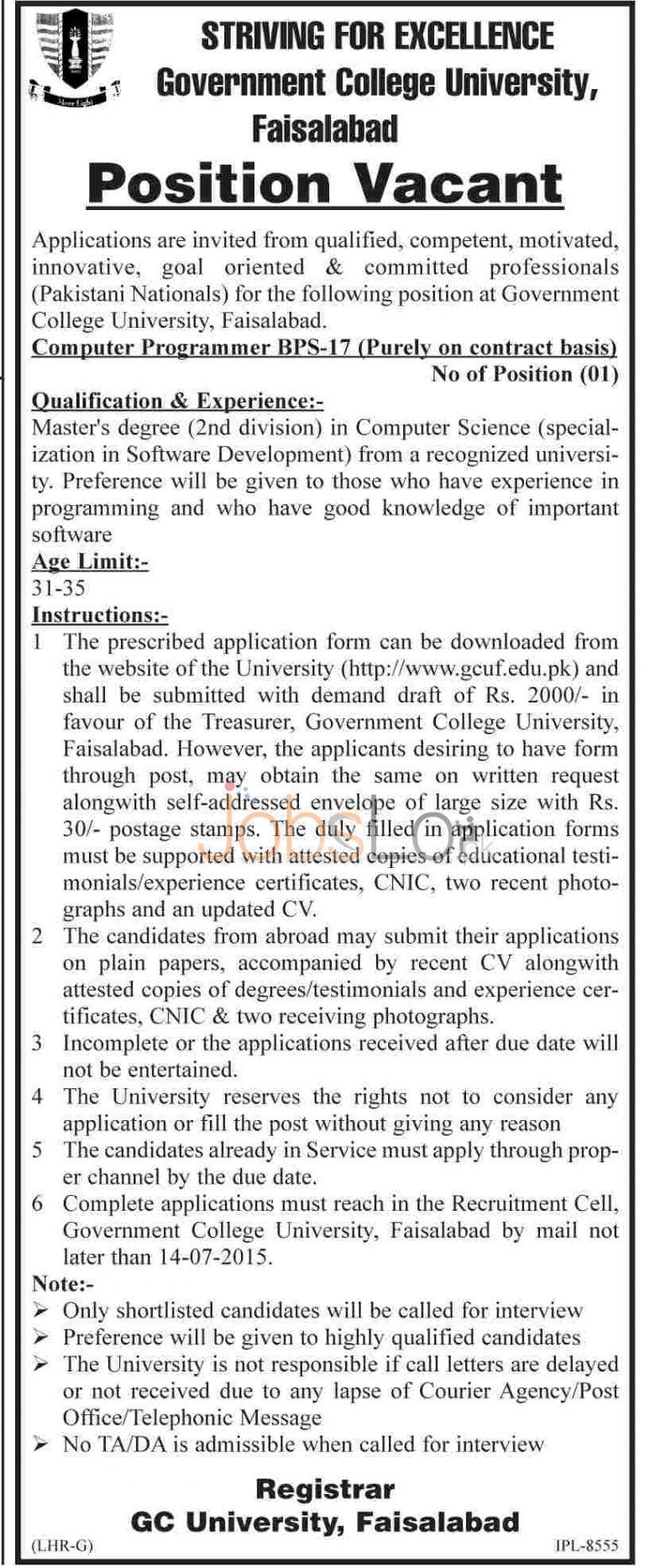 GC University Faisalabad Jobs July 2015 for Computer Programmer