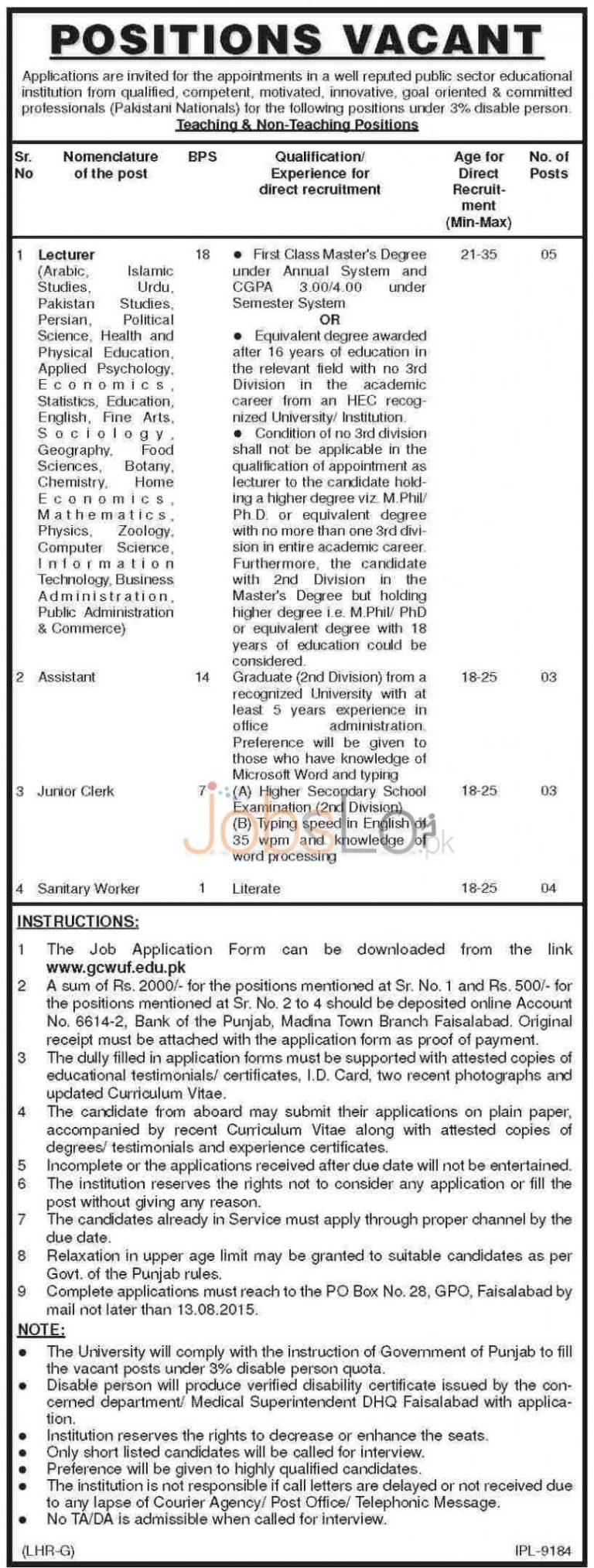 Govt College University Women University Faisalabad GCWUF Jobs 2015 Application Form