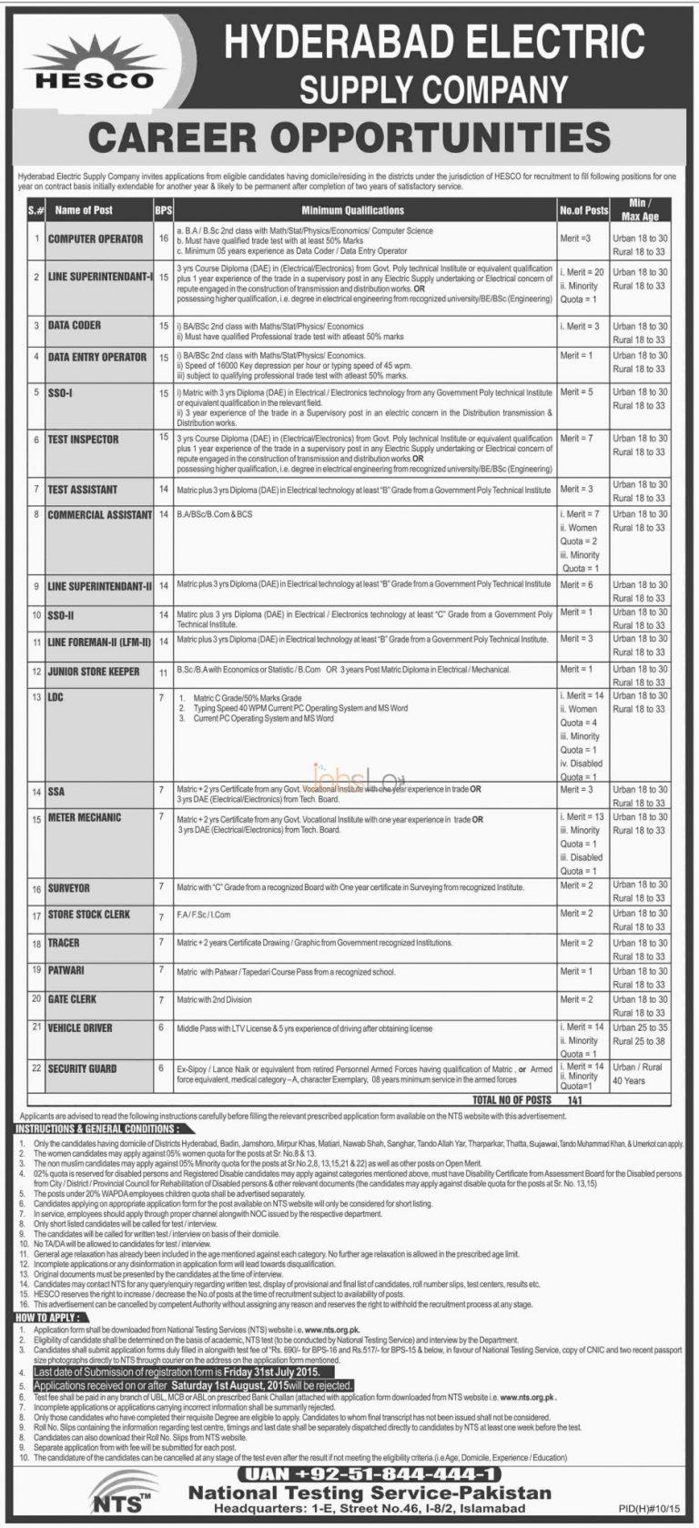 WAPDA HESCO 141 Jobs July 2015 NTS Form Hyderabad