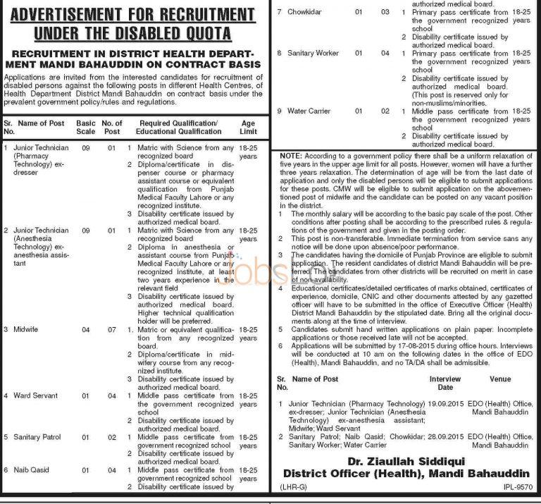 Health Department Punjab Jobs Mandi Bahauddin 2015 Disabled Quota