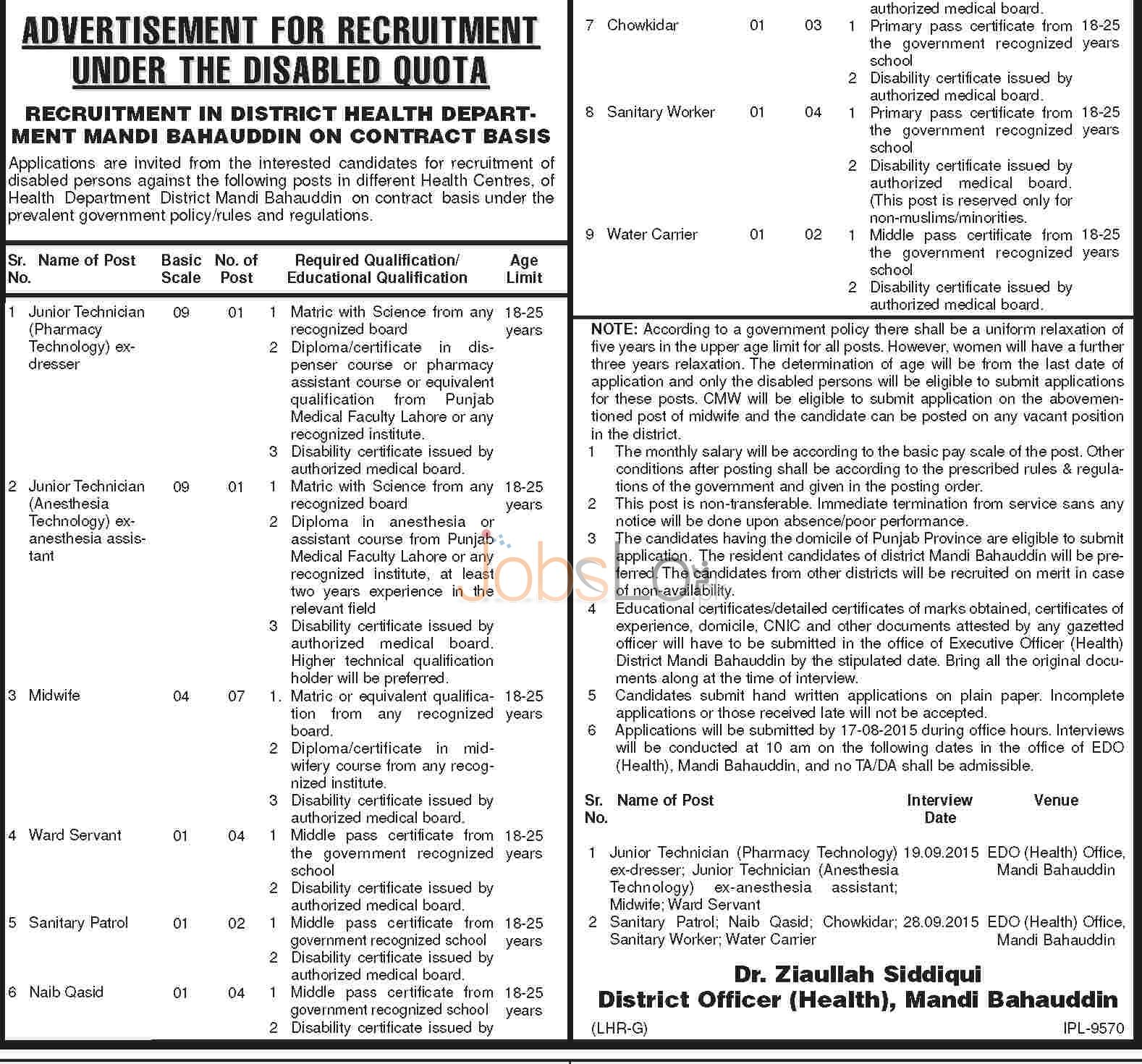 Health Department Mandi Bahauddin Jobs