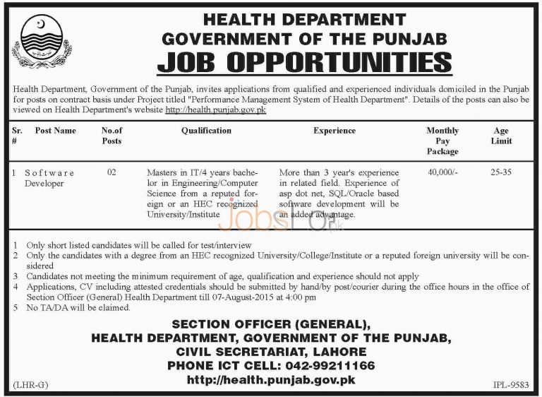 Health Department Punjab Jobs 2015 for Software Developer