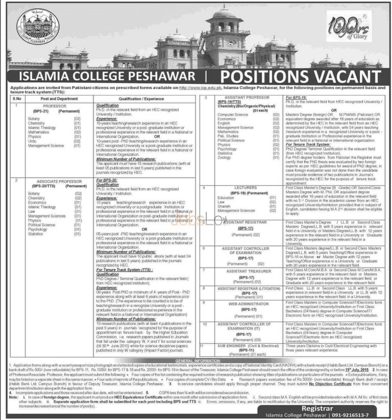 Islamia College Peshawar Jobs July 2015 Application Form