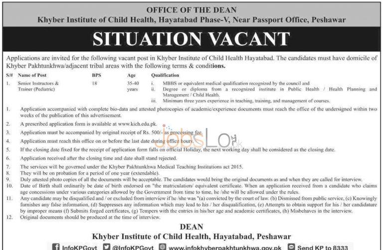 Khyber Institute of Child Health Peshawar Jobs 2015 Senior Instructor & Trainer